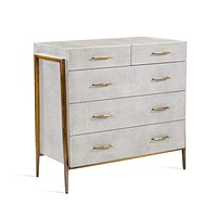 Interlude Home Morand 5 Drawer Chest in Grey