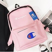 Champion Fashion New Letter Print Women Men Leisure Backpack Bag School Bag Pink