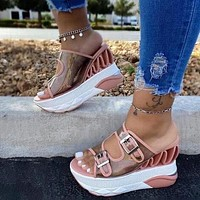 Wedge Female Belt Buckle Women Sandals Transparent Super High Heel Shoes Woman With Platform Waterprooof