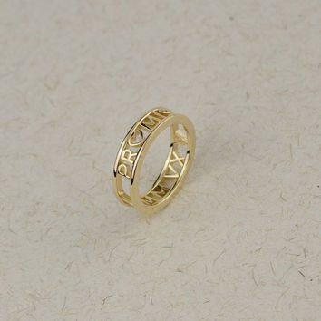 Solid Gold Promise Ring - Personalized Roman Numeral Ring. Custom Name, Date, Symbol, Number. Wedding and Anniversaries