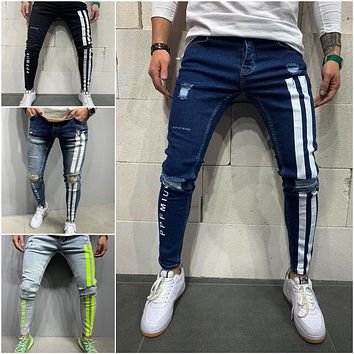 Men's Printed Ripped Jeans Long Pants Trousers