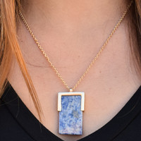 Square Stone Necklace Blue
