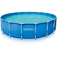 """Summer Waves 18' x 48"""" Round Metal Frame Above Ground Swimming Pool with Deluxe Accessory Set - Walmart.com"""