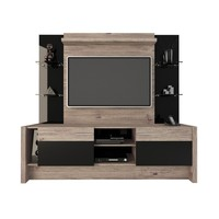 Morning Side Freestanding Theater Entertainment Center in Nature and Black
