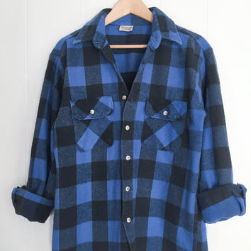 Vintage Flannel, Plaid Shirt, Blue Lumberjack Flannel. Thick Cotton Flannel. 1970s Cotton Flannel Shirt. Oversized Flannel. Fall Flannel.