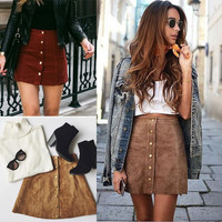 Women Waist Lace Suede Leather Pocket Preppy Short Mini Skirts dress USA STOCK