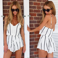 Sexy striped suspenders two - piece KDS81SA