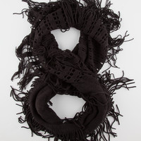 Half Open Knit Fringe Scarf Black One Size For Women 26408010001