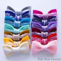 Felt Lace Vintage Inspired Bow Hair Clip - Accessories Women Teens Kids Children All Colors - You choose 3 Colors