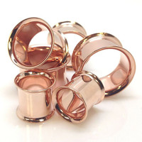 1 pair=2 pieces stainless steel anodized rose gold plug tunnels double flare ear plug gauges body piercing jewelry