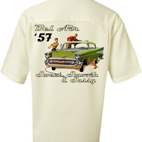 Classic Car Shirt -1957 Chevy Bel Air Vintage Look- Casual Shirt for men-Ivory