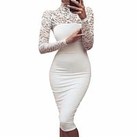 LACE TOP BODYCON MIDI-DRESS