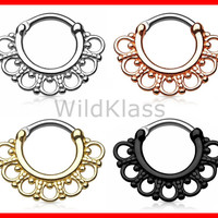 Tribal Fan 316L Surgical Steel Septum Clicker 16g Earring 14g Cartilage Piercing Tragus Ring Nose Septum Ring Rose Gold - Sold by Piece