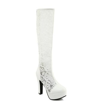 Lace Tall Boots Winter Shoes for Woman 5853