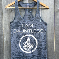 I AM DAUNTLESS Fire Logo Workout Athletic Fitness Gym Racerback Tank Top