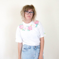 vtg 90s kawaii pale floral tshirt, pastel flowers glitter tee shirt, 1990s goth, vtg tumblr soft grunge vaporwave, urban outfitters