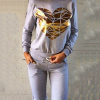 Gold Heart Patchwork Sweatshirt and Knee Cut-Out Pants