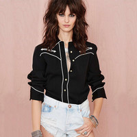 Casual Black Doll Collar Button Down Long Sleeve Blouse With White Stitches