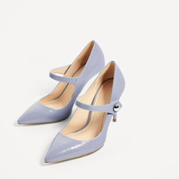 PATENT FINISH HIGH HEEL SHOES WITH STRAP DETAILS