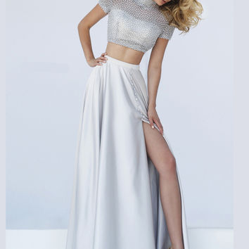 Embellished Crop Bodice Sherri Hill Formal Prom Gown 50037