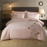 Butterfly Oriental Embroidery Egyptian cotton White Bedding set Queen King size Silky Soft Duvet cover Bedsheet set Pillowcase