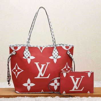 LV Newest Women Shopping Leather Handbag Tote Shoulder Bag Purse Wallet Set Two-Piece Red