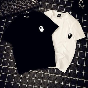 Korean ape men's T-shirts, men's and women's summer short sleeves, cotton and round neck loose couple outfits.