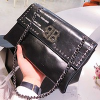 Hipgirls Balenciaga New fashion leather chain shoulder bag crossbody bag women Black