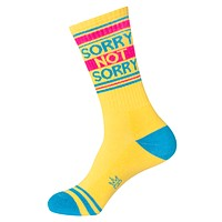 Sorry Not Sorry Unisex Ribbed Gym Socks in Rad '80s Yellow
