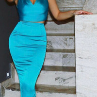 Mindy Two Piece Satin Outfit