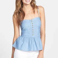 Liberty Love Button Front Peplum Tank (Juniors)