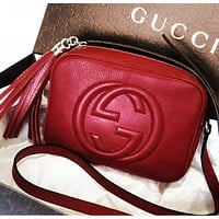 Gucci Popular Women Tassel Leather Zipper Shoulder Bag Crossbody Satchel Pink I