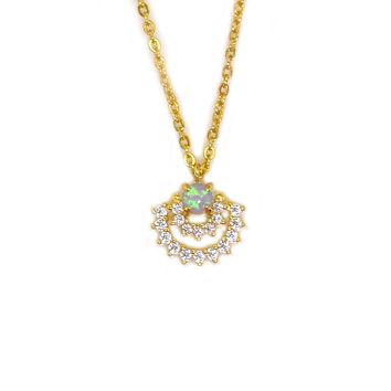 Blue Opal and Diamond Halo Pendant