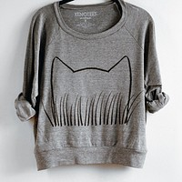 Womens Cat Grass Pullover