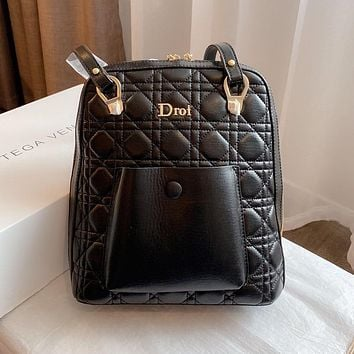 Dior's new casual schoolbag simple diamond backpack bag