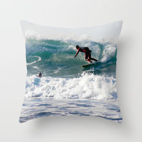 Cornish Surfers Throw Pillow by Cornish Seascapes