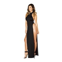 Roma 3529 Halter Neck Maxi Dress with High Slits