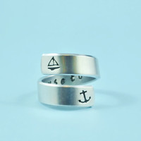 i refuse to sink - Hand Stamped Spiral Ring, Anchor Ring, Boat Ring, Personalized Gift Ring