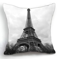 OJIA Modern Fashion Paris Eiffel Tower Home 18 X 18 Inch Cotton Linen Decorative Throw Cushion Cover / Pillow Sham