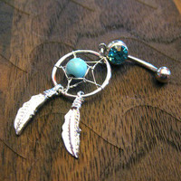 Dream Catcher Belly Button Ring -- Turquoise