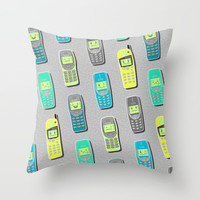 Vintage Cellphone Pattern Throw Pillow by Chobopop