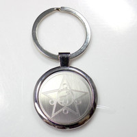 Sailor Mars Keychain Key Chain Tag Engraved Silver Tone Metal KEN-0048