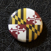 "1"" Maryland flag button, state, pin, badge, pinback"
