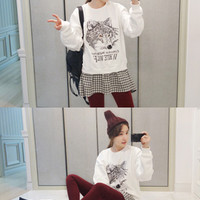Wolf Sweater with Gingham Accent. Korean Fashion.