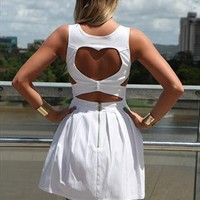 White Heart Cut out dress heart cut out backbodice design from xeniaeboutique