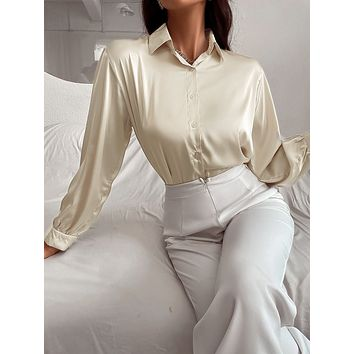 Solid Button Front Blouse