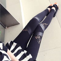 2015 Sexy Women Spell Leather Lace Leggings Pants Show Thin Female Blcak Nine Minutes of Pants Leggings