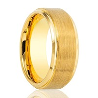 Yellow Gold Brushed Step Polished Edges Tungsten Men's Wedding Band - 6MM - 8MM