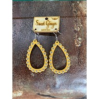 Yellow Scallop Earrings-Clear Crystals