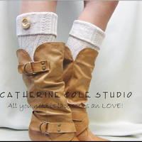 NEW TAN Boot cuffs boot toppers cable knit w/ real wood button stocking stuffers secret santa gifts Catherine Cole Studio Made in USA